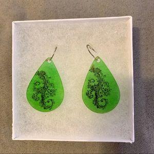 NIB Green Teardrop Earrings